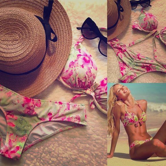 VICTORIA SECRET FLORAL BIKINI SET Victoria Secret floral gorgeous bikini set two pieces top: 34a and bottom: small, padded and ruffle bottom for a lift up effect  Victoria's Secret Swim Bikinis