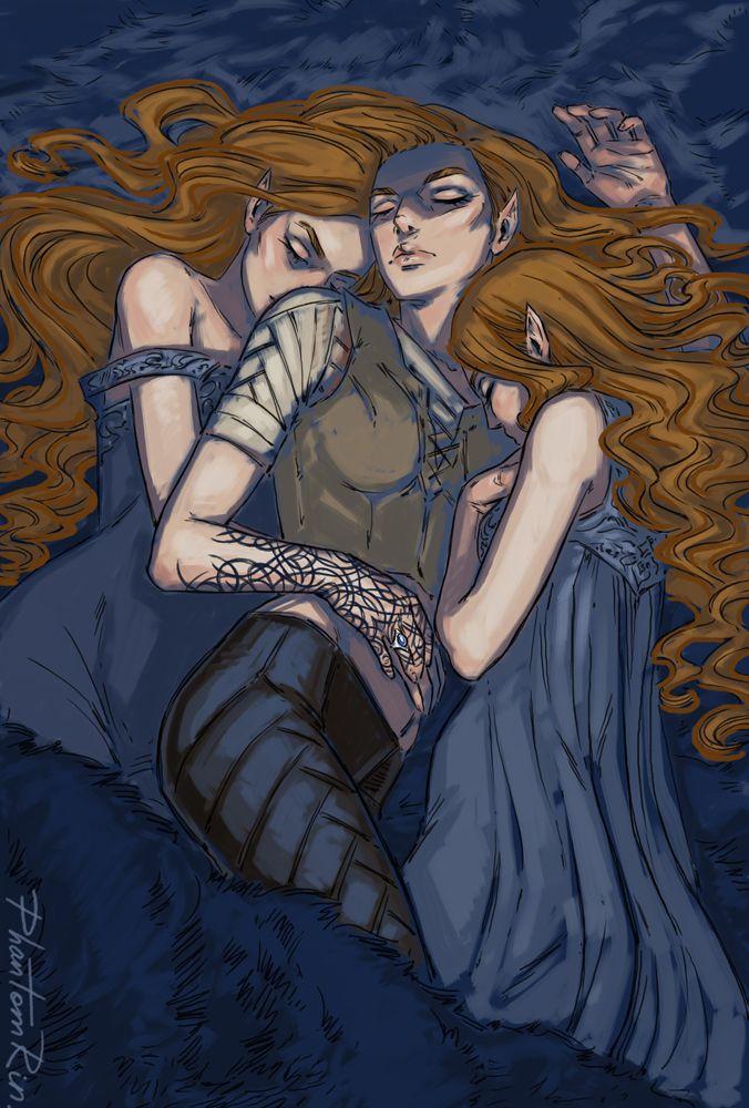 Nesta, Feyre, and Elain Archeron sisters by PhantomRin. ACOWAR Sarah J Maas