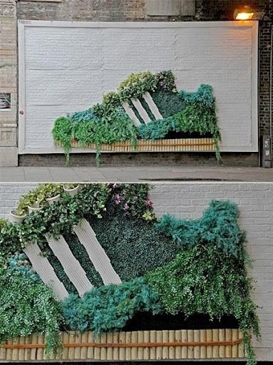 Adidas sneaker garden quite cool advertising here, with a reference to Adidas being green and enviromental. This is pretty good, i do like it think it's a bit odd tho and isnt overly clear what they are trying to do