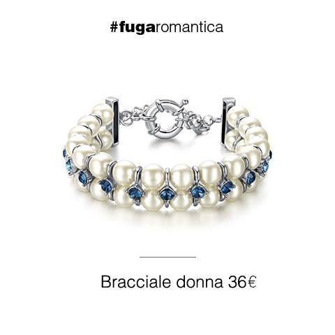 Bracciale in metallo con perle sintetiche e cristalli blu Luca Barra Gioielli. #bracciale in #metallo con #perlesintetiche e #cristalliblu #lucabarragioielli #fugaromantica #euro36