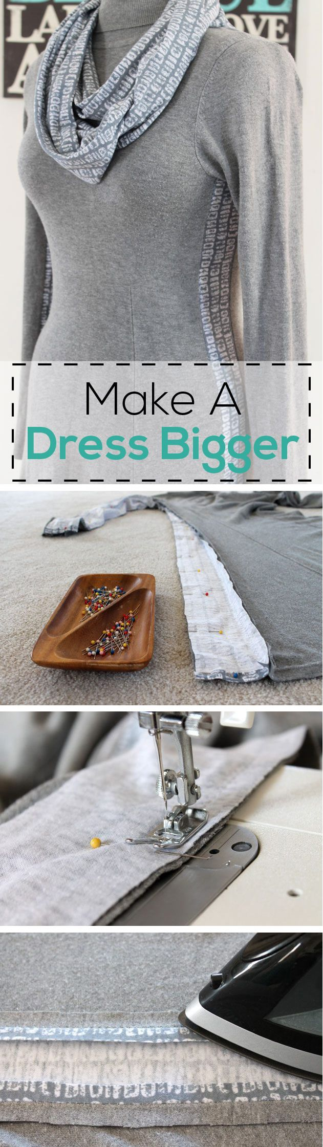 How to add extra fabric panels )the right way) to a dress that may be too tight. Simple step by step tutorial with pictures on the site! http://www.ehow.com/how_8612925_make-dress-bigger.html?utm_source=pinterest.com&utm_medium=referral&utm_content=inline&utm_campaign=fanpage