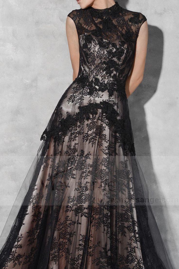 robe de soirée dentelle noir chic col montant