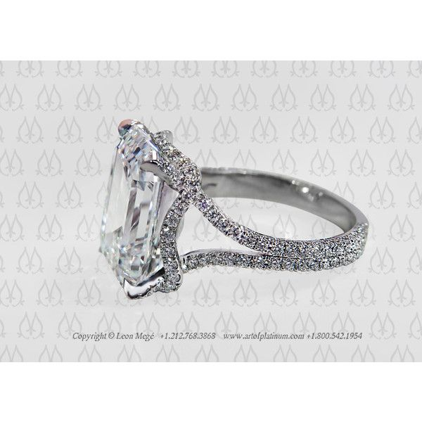 Emerald cut diamond engagement ring. Split shank engagement ring. Leon Mege - r319. found on Polyvore