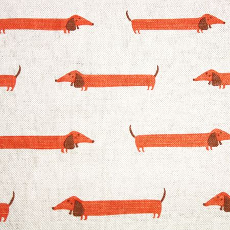 Dachshund Linen Fabric Make roman blinds for window and 3 doors in kitchen