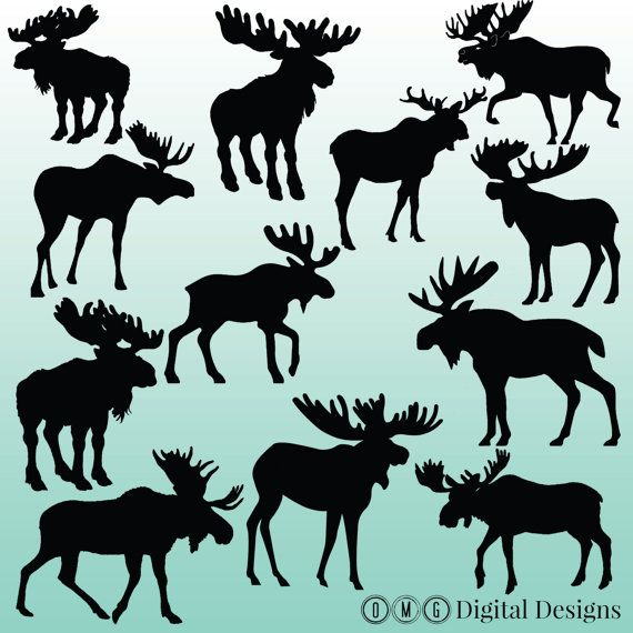 12 Moose Silhouette Digital Clipart Images, Clipart Design Elements, Instant Download, Black Silhouette Clip art