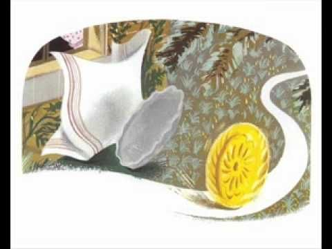 """Roule Galette--folk tale about a cake that rolls through the forest, encountering creatures who would like to eat it, managing to escape until the fox tricks it.  Features a catchy song (""""Je suis la galette"""").  This simple five-minute video consists of the illustrations from the classic Pere Castor version of the book, narration, and background music.  The sound is that of a lower-quality recording."""