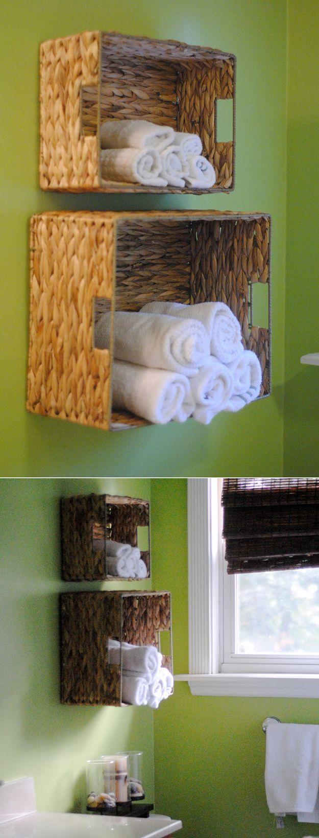 DIY Bath Towel Storage | Basket DIY Bathroom Organization Ideas by DIY Ready at http://diyready.com/organization-hacks-bathroom-storage-ideas/