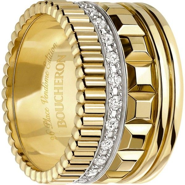 BOUCHERON Quatre Radiant Edition 18ct yellow-gold and diamond ring ($10,770) ❤ liked on Polyvore featuring men's fashion, men's jewelry and men's rings