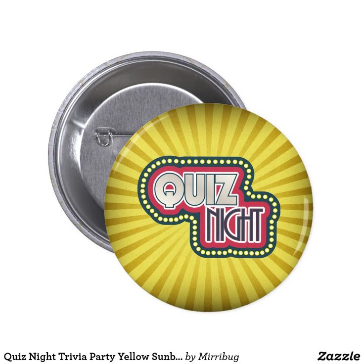 Quiz Night Trivia Party Yellow Sunburst
