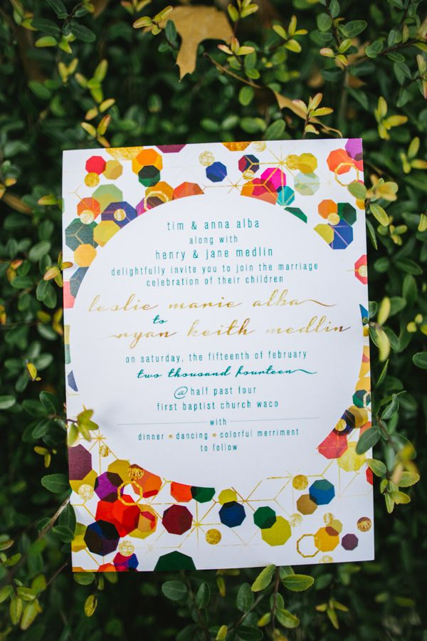 we would like to invite you celebrate our wedding in december0th%0A colorful geometric invitations  photo by Rachel Whyte  http   ruffledblog com