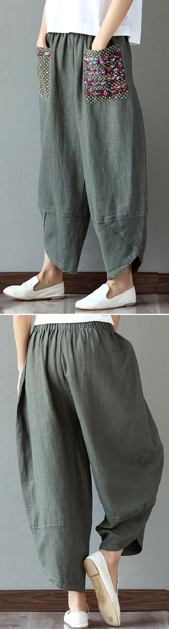 US$ 28.23 Casual Pri  US$ 28.23 Casual Print Patchwork Loose Irregular Pants For Women
