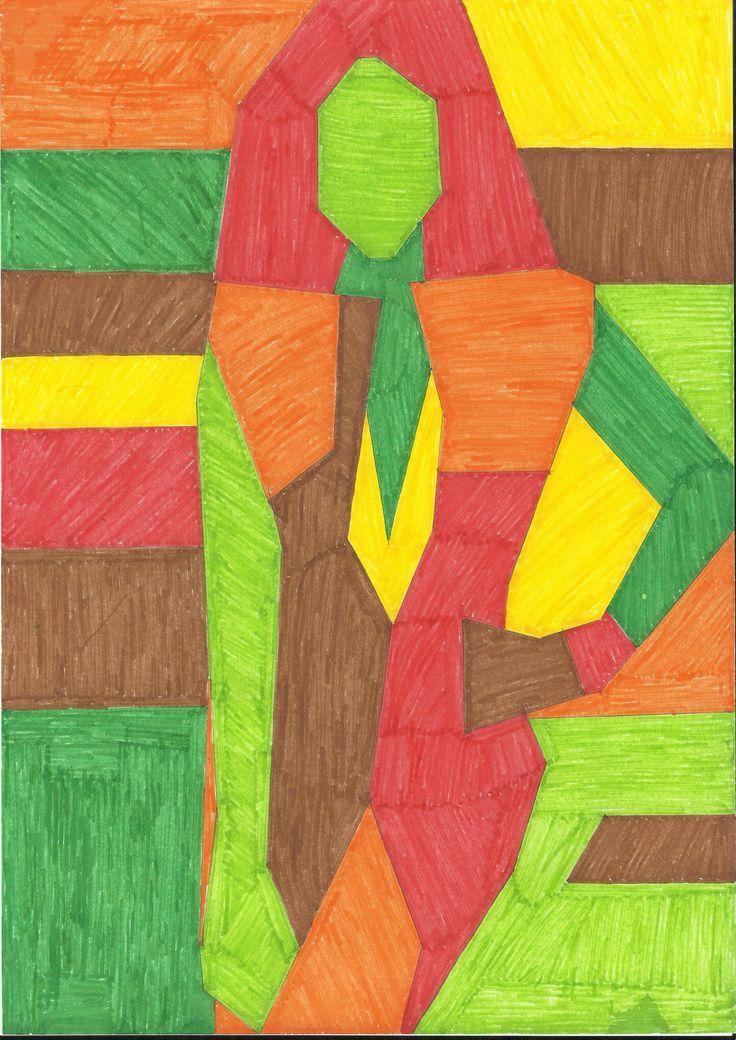 Dibujo realizado en tonos calidos tras la simplificación de las formas del dibujo de la revista original.