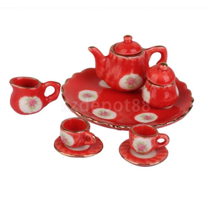 8pc Dining Ware Red Porcelain Floral Coffee Tea Set Dish Cup 1/6 Barbie Doll #Unbranded