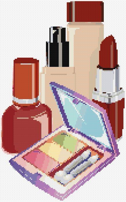 0 point de croix maquillage, rouge à lèvres, vernis à ongles - cross stitch make up, lipstick, nail polish
