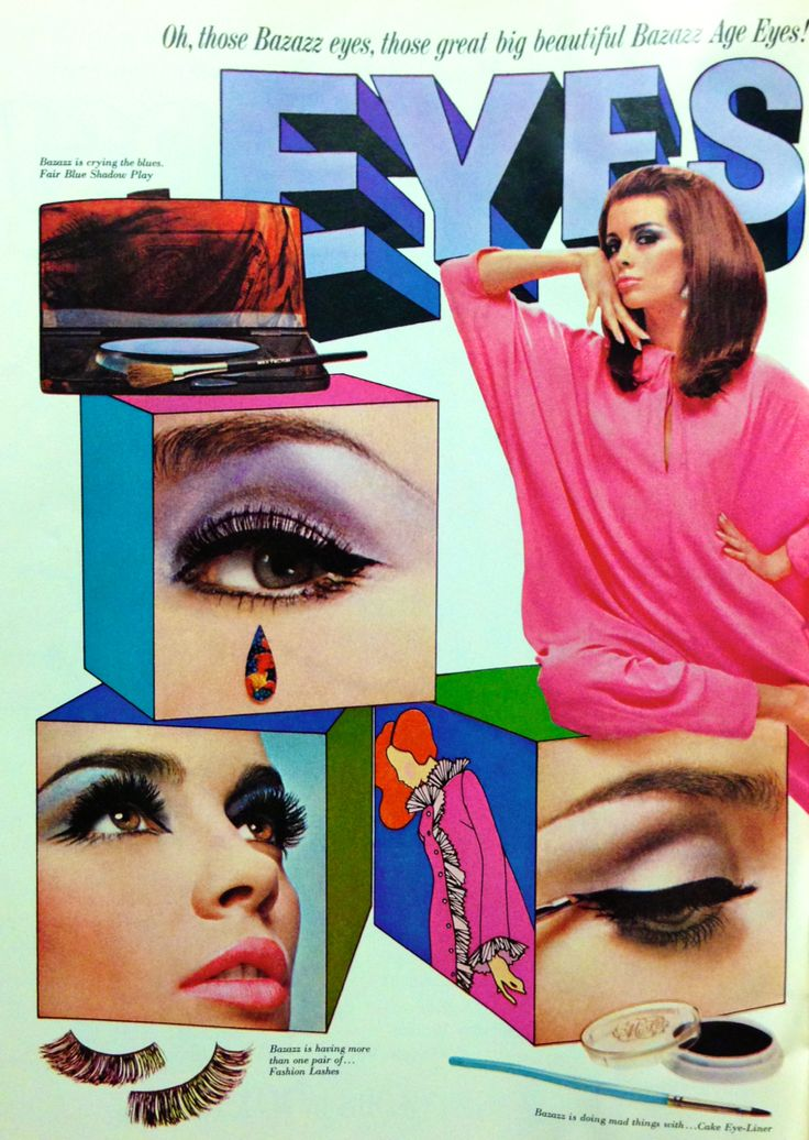 Max Factor ' Eyes Bazazz' Eye Makeup Ad - double spread left, 1966