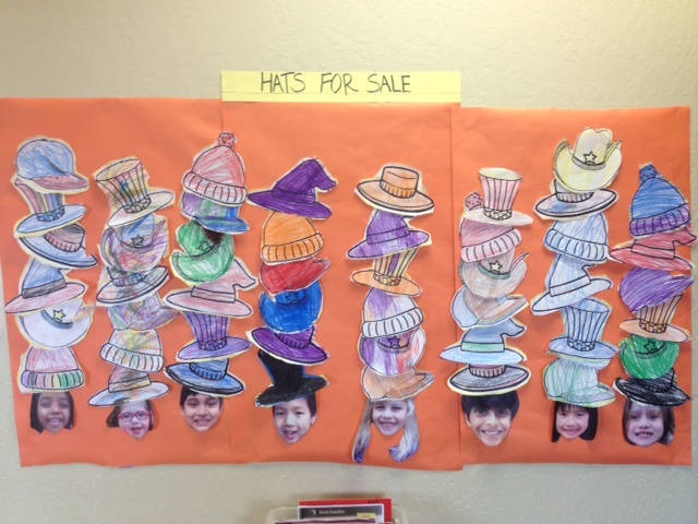Bulletin Board featuring kids with LOTS of hats - Great craft to pair with Caps for Sale