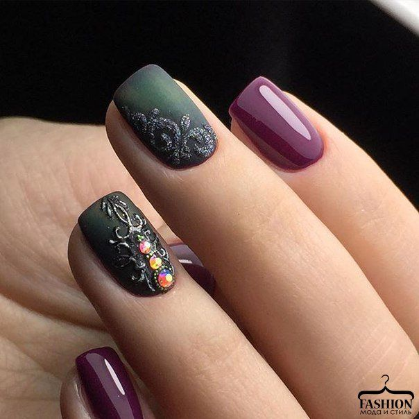 Autumn nails, Beautiful new year's nail, Evening nails, Evening short nails, Fashion nails 2017, Gold casting nails design, Ideas of matte nails, Matte nails