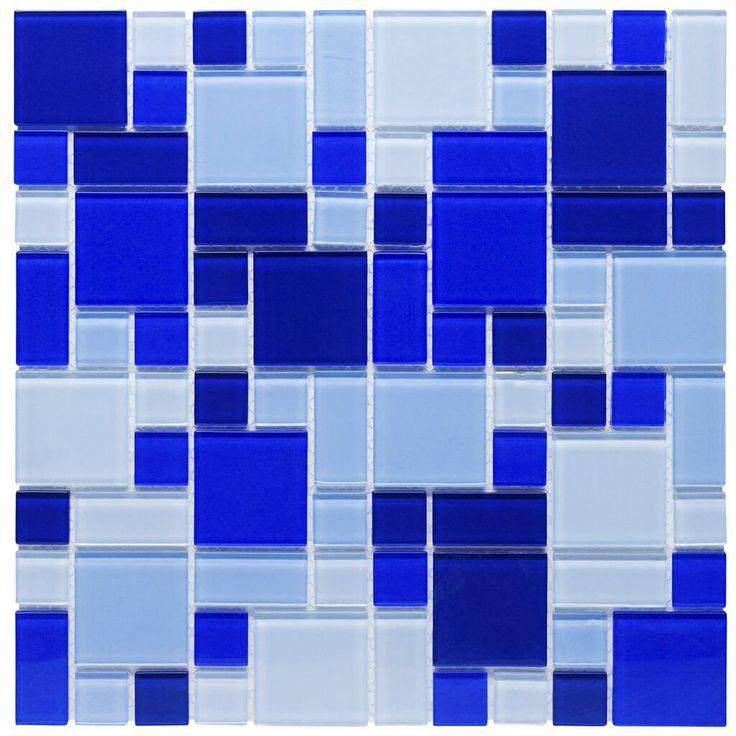 Malla Decorativa Blue Berry con mezcla de cristal en tonalidades azul claro, celeste y azul obscuro en diferentes tamaños. Medida (cm) 30 x 30 Grosor (cm) 0.4