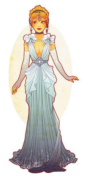 Art Nouveau Costume Designs I by Hannah-Alexander                                                                                                                                                      {It resembles Disney's Cinderella!}