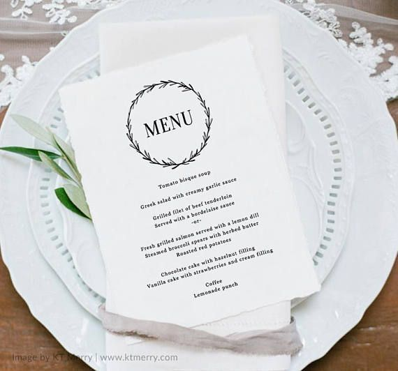 Wedding Menu Template Printable Wedding Menu Elegant Menu #weddingmenu