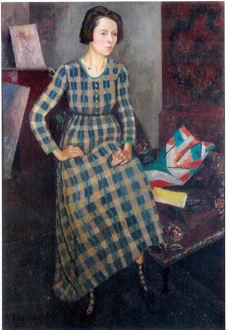 Nina, in her own Omega-fabric dress, painted by Roger Fry in 1918