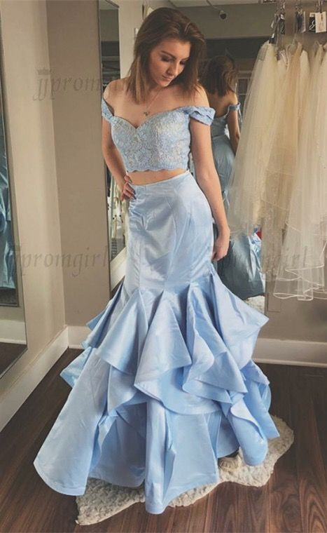 4f4e7ee3f3896 Two Piece Off-the-Shoulder Light Blue Prom Dress with Lace Ruffles, unique two  piece light blue mermaid prom dresses with lace, modest off the shoulder ...