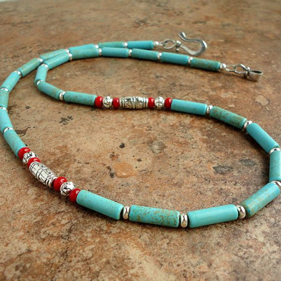 Necklace for Men Unisex Teal Blue Magnesite by ...