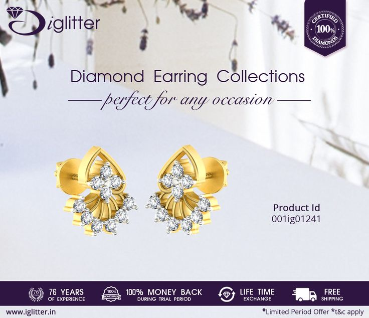 Perfect for any Occasion ♥♥♥ Shop Now : http://bit.ly/1LbFAwK  #iGlitterindia #Earrings #Jewellery #Diamonds