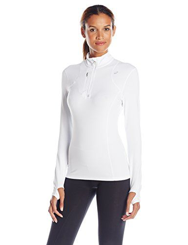 ASICS Women's Thermopolis 1/2 Zip Jacket, Real White, Large. Soft, multi-weather, brushed fabric provides extreme comfort and enhanced warmth, embossed print on solid color ways, except performance black & real white. Glow in the dark stripes on black stripe colorway (9995), zippered mock neck with wind panel and zipper garage. Invisible chest pocket with media port, media loop at inside collar. Flat lock seam construction for reduced chafing, reflective logo and zipper keeper. Thumbholes at…