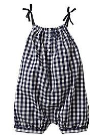Checkered bow romper