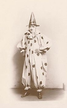 creepy olden times clown... in sepia?