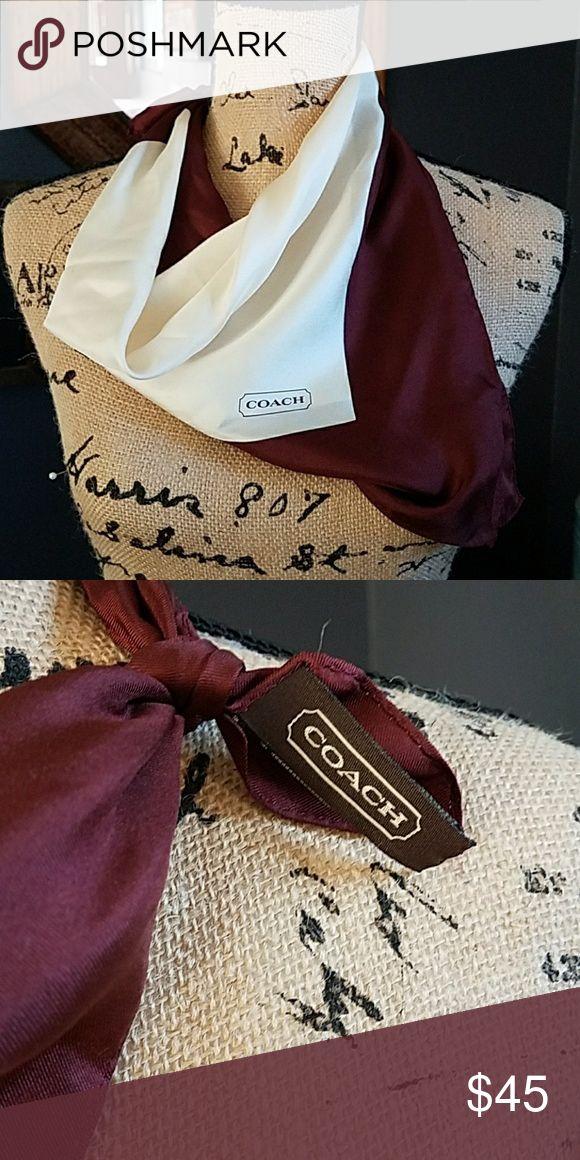 """❣Coach Silk Scarf❣ Gorgeous color block burgundy and cream scarf 100% Silk 21""""x 21"""" Color: Wine/burgundy, cream Coach Accessories Scarves & Wraps"""