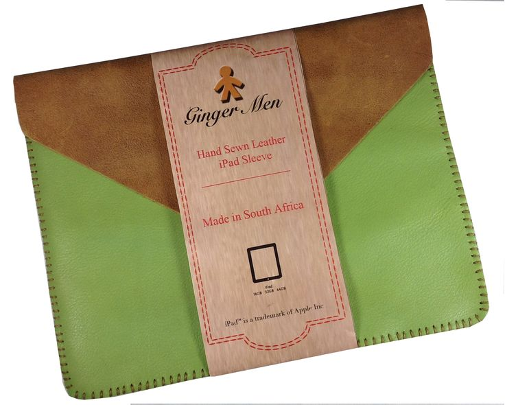 Hand Sewn Apple green and Distress Tan iPad Cover