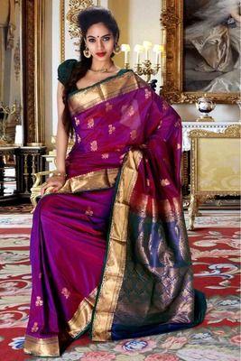 Purple pure silk zari weaved saree with peacock blue pallu Buy Now @ Rs 6230