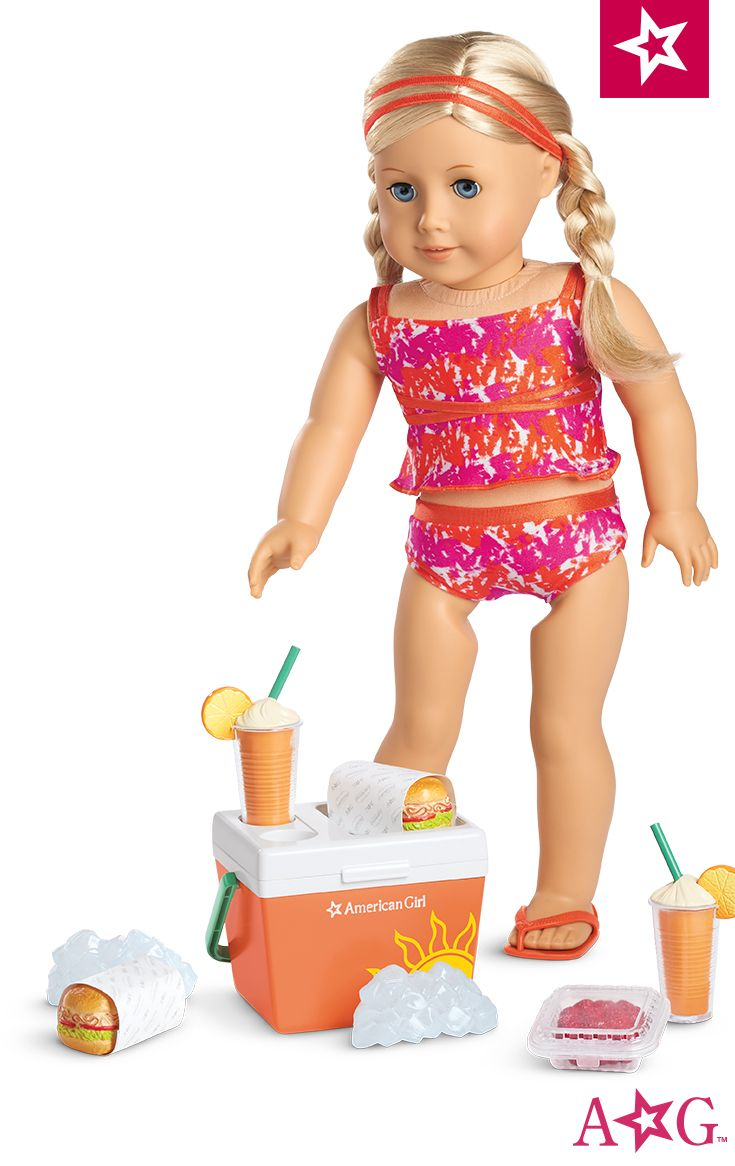 Bright & Splashy Tankini for Dolls, shown with Beach Cooler Set. Get set for sun and fun with this bright swimsuit and bottle of pretend sunscreen! It features an orange-and-pink tankini top with double satin straps, a bikini bottom, a double-strap headband, and orange flip-flops $28. Beach Cooler Set $28