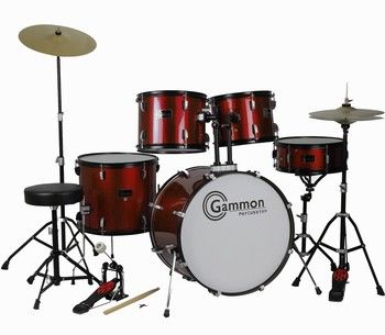 Gammon Drum Set Wine Red Complete Full Size Adult Kit With Cymbals Sticks Hardware And Stool