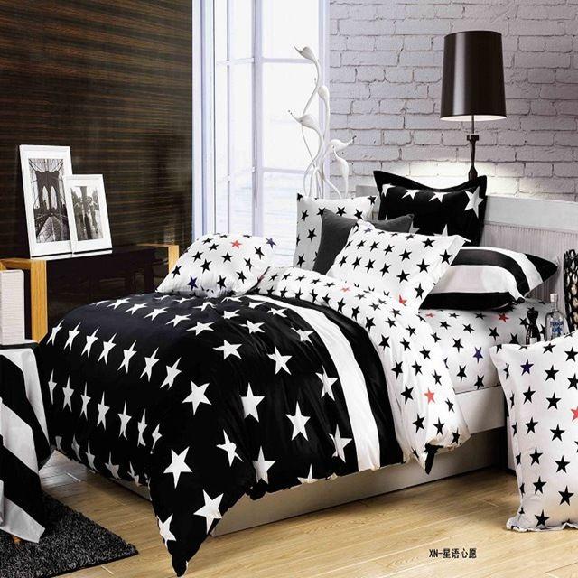 2016 Yeni 4 Adet Karikatür Siyah Beyaz Çizgili Yatak Kral Yatak Seti Yorgan Yorgan Yastık Sac Kapakları Hiçbir Yorgan
