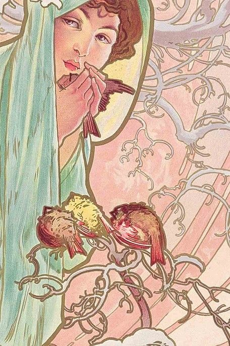 The Seasons: Winter (1896) Draped from head to toe in a pale green cape, the figure of Winter stands next to a snow-capped bush to shelter from the cold. In her hands she warms a small bird as three other birds look on in envy. The simplicity and flatness of the composition is reminiscent of traditional Japanese woodcuts and reveals Mucha's debt to Japanese art.