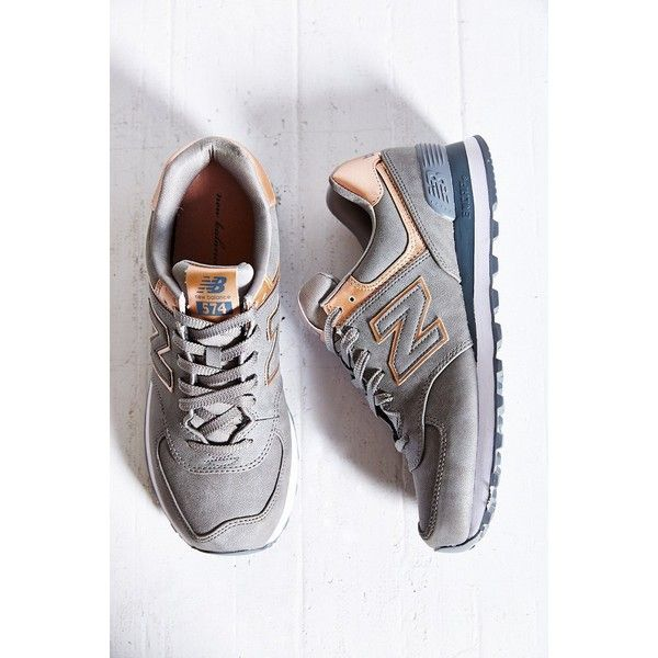 New Balance 574 Precious Metals Running Sneaker ($75) ❤ liked on Polyvore featuring shoes, sneakers, silver, traction shoes, grip shoes, new balance footwear, new balance trainers and grip trainer