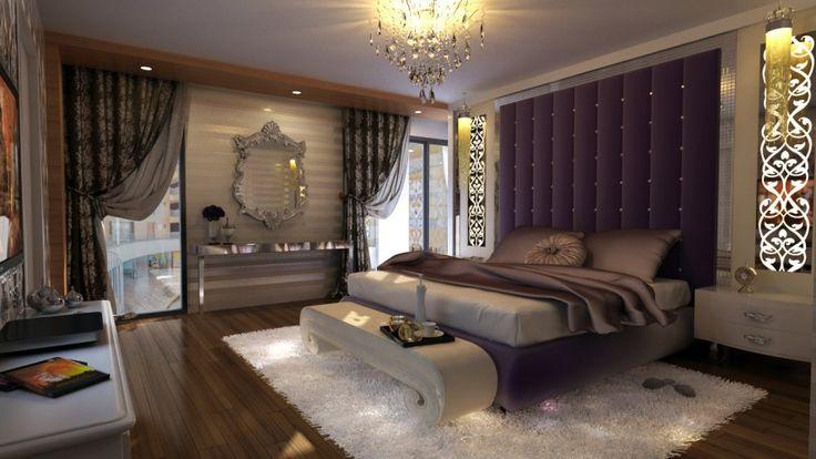 Большой интерьер спальни Дизайн с современным деревянным полом и также Фиолетовый Роскошные Шторы можете добавить красоты изнутри Nice Люстра может украсить Внутри Дизайн интерьера Living