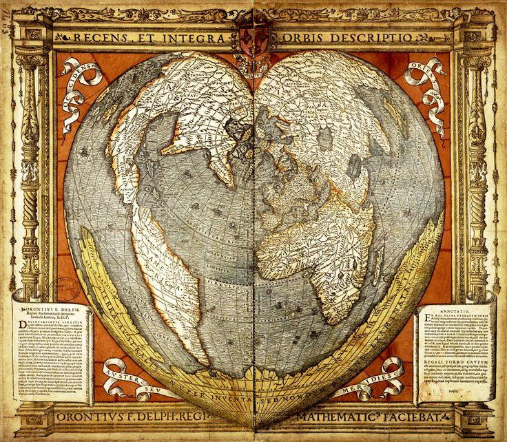 ORONCE FINÉ. Mapa del mundo de 1534 que pertenece a un grupo de 18 mapas de proyección con forma de corazón publicados entre 1511 y 1566. El mapa refleja el estado del conocimiento y las hipótesis e incertidumbres geográficas de sus días. América del Norte está unida a Asia y, dibujada al sur aparece una vasta Terra Australis, un continente hipotético que los geógrafos postulaban que debía existir para contrarrestar el peso de las masas de tierra del norte.