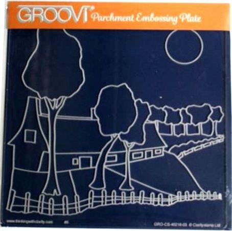 ClarityStamp Groovi Parchment Embossing Plate Farmhouse Landscape