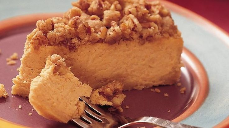 A baked-on nut topping and spicy sweet potato filling set this cheesecake apart from the ordinary.