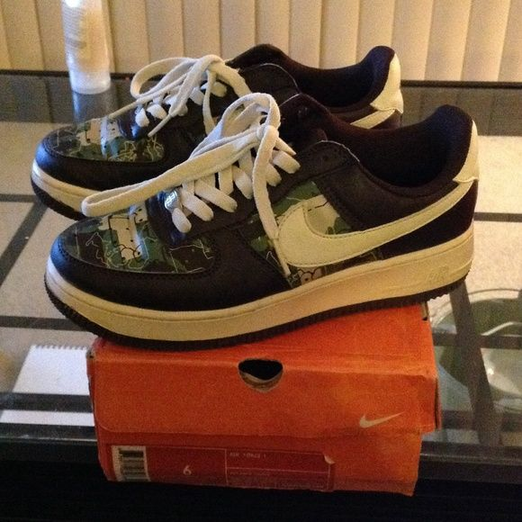 Rice white and Brown Air Force Ones Throw back Air Force ones, rice white, brown and green. Has a crease on top from being worn (see last pic), a couple scuffs on sole, barely noticeable. Overall good condition. Nike Shoes