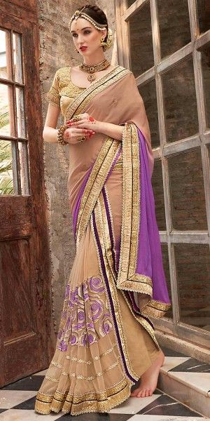 Relible Purple And Brown Chiffon Saree With Blouse.