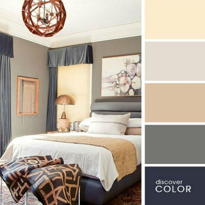 Серый, бежевый и кремовые тона относятся к нейтральным оттенкам и идеально подойдут для интерьера спальни.