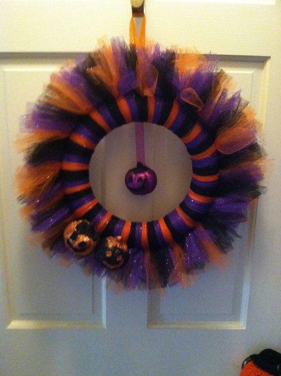 Purple Orange and Black Halloween Wreath by JoiedeVivreCrafts, $35.00