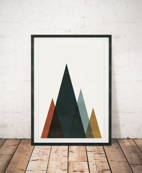Aquarel afdrukken, geometrische kunst Abstract wall art, Scandinavische kunst, Home decor, aquarel kunst, bergen afdrukken, Wall prints, moderne kunst