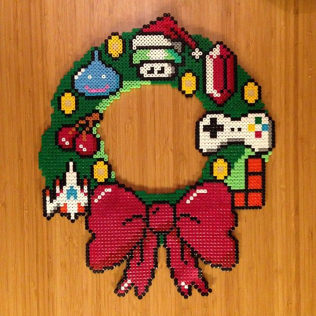 Video game Christmas wreath perler beads by jonas.oldenburg