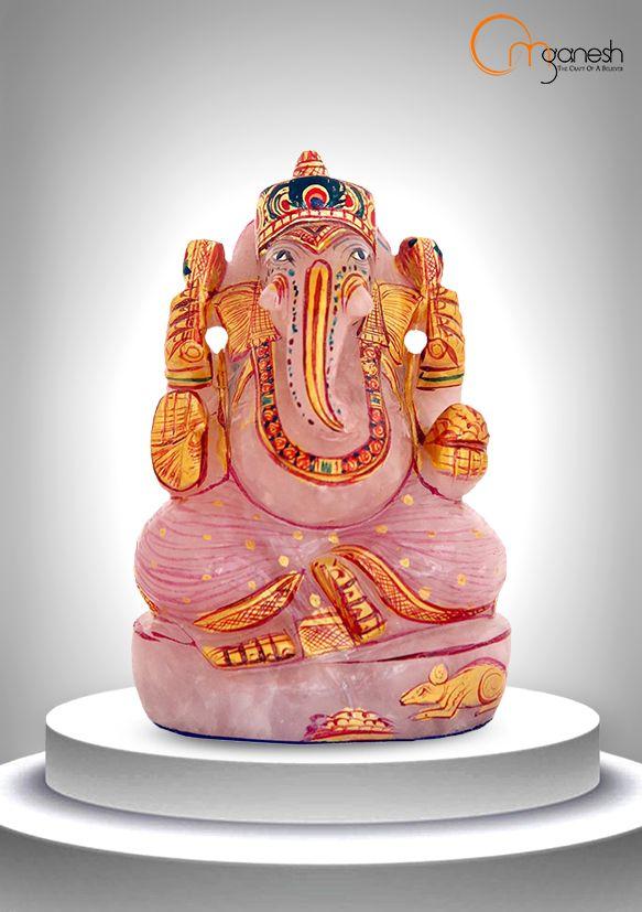 Promote a nurturing & bonding aura in your home with an exquisite Ganesha idol in rosy Pink Quartz.